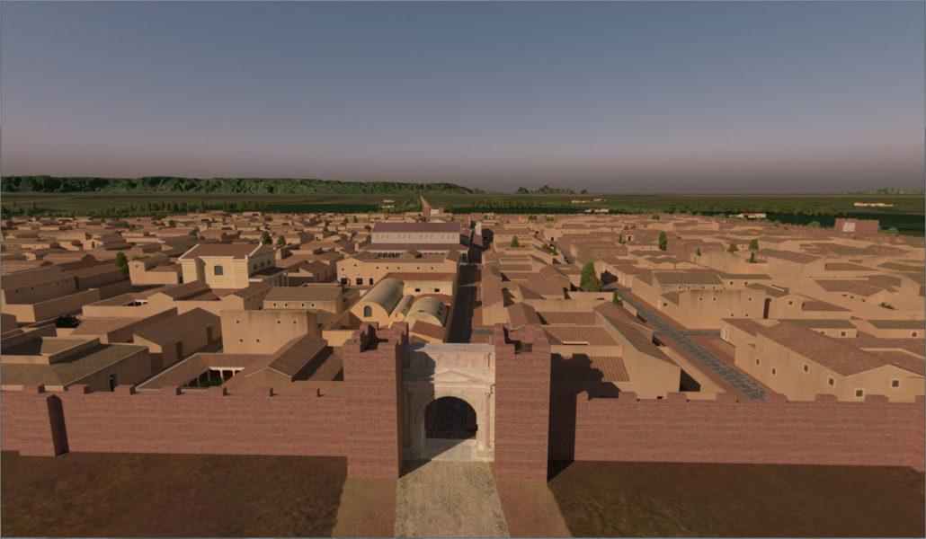 Vista di Mutina da fuori le mura.